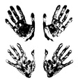 Set of black art hand prints grunge vector