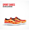 Running colorful pair shoes bright sport sneakers vector