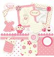 Scrapbook set for baby girl vector