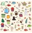 Tea and all stuff - hand-drawn seamless vector
