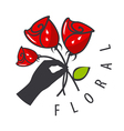 Logo hand is holding a bouquet of flowers vector