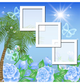Tropical floral frame background vector