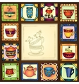 Tea cups and pots frame hand drawn design vector