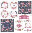 Floral set - frames ribbons backgrounds vector