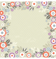 Beige background with frame of color flowers vector