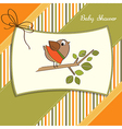 Welcome baby card with funny little bird vector