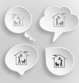 Family home white flat buttons on gray background vector