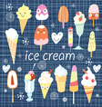 Pattern colorful variety of ice cream vector
