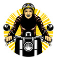 Woman ride a motorcycle vector