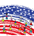 Stylized american flag and children vector