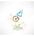 Flower grunge icon vector