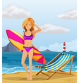 A girl at the beach with a colourful surfing board vector