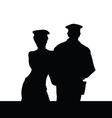 Couple in police uniform silhouette vector