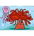 Anemone and jellyfish cartoon vector