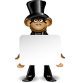 Monkey in a top hat with white background vector