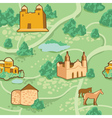 Seamless pattern with map and houses vector