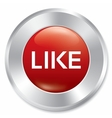 Like button rate icon red round sticker vector