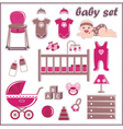 Scrapbook elements with baby girl things vector
