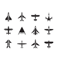 Silhouette different types of plane icons vector