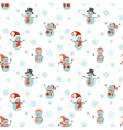 Seamless pattern of snowmen on white background vector