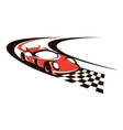 Speeding racing car crossing the finish line vector