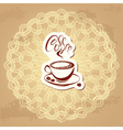 Coffee label over circle ornamental vintage backgr vector