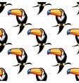 Seamless pattern of a toucan with a big bill vector