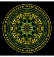 Yellow and green round ornament on black vector