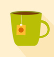 Cup of tea with teabag in flat style with l vector