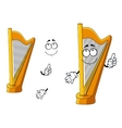 Classic wooden musical cartoon harp character vector