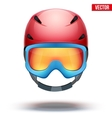Front view of classic red ski helmet and blue vector