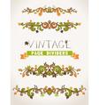 Set of vintage design elements with leaves vector