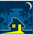 House at night in an environment of stars and moon vector