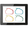 Cloud-computing connection on the digital tablet vector