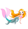 Cute mermaid and dolphin vector
