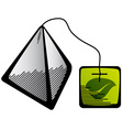 Green tea pyramid bag icon vector