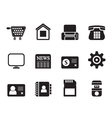 Silhouette business and website icons vector