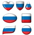 Russian flag in various shape glossy button vector