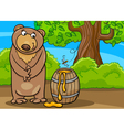 Bear with honey cartoon vector