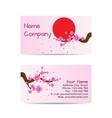 Business card with blooming sakura vector