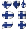 Finnish flag in various shape glossy button vector