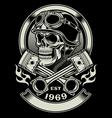 Vintage biker skull with crossed piston emblem vector