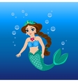A cute mermaid girl under the sea vector