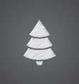 Christmas tree sketch logo doodle icon vector