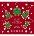 Merry christmas and new year labels in green red c vector