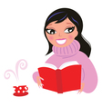 Beautiful woman reading book from red library vector