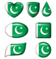 Pakistan flag in various shape glossy button vector