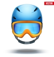 Front view of classic blue ski helmet and orange vector