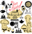 Set of cooking symbols hand drawn pictures - food vector