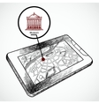 Sketch draw tablet pc with navigation map vector